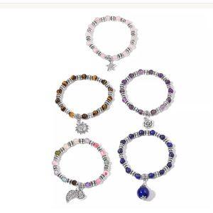 LC Jewelry - Set of 5 Stackable Gemstone Charm Bracelets